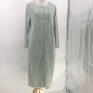 Oscar De La Renta Sage Green Robe Full Zip Long